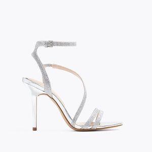 ALDO Elelawiel Metallic Silver Cross Ankle Heels